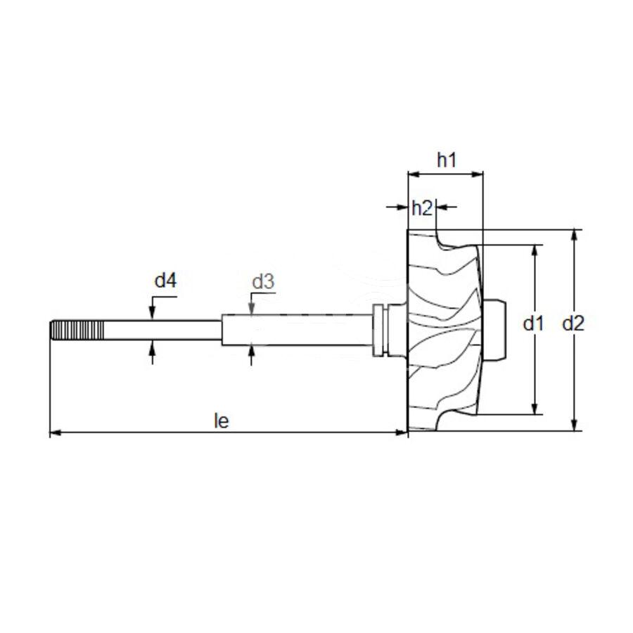 Вал турбокомпрессора MST0468